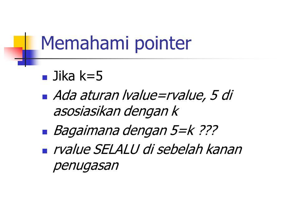 Memahami pointer Jika k=5