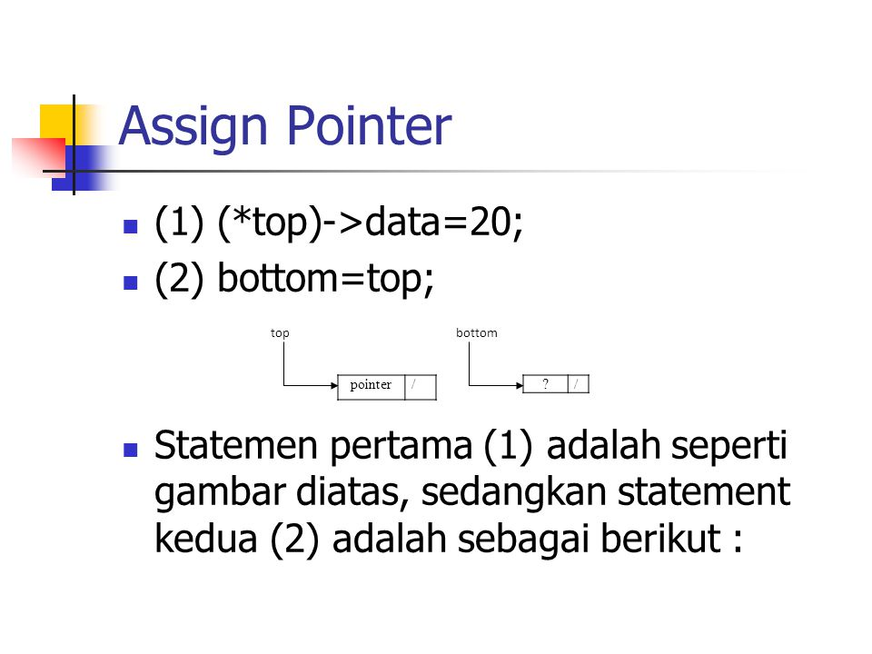 Assign Pointer (1) (*top)->data=20; (2) bottom=top;
