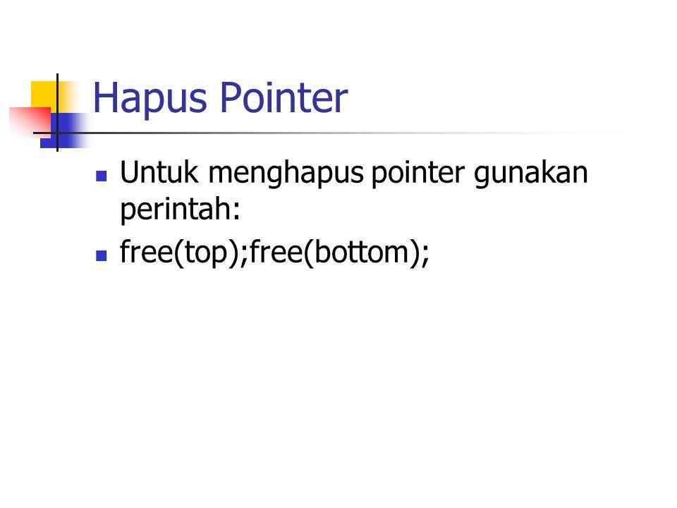 Hapus Pointer Untuk menghapus pointer gunakan perintah: