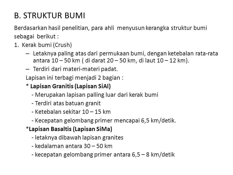 B. STRUKTUR BUMI Berdasarkan hasil penelitian, para ahli menyusun kerangka struktur bumi. sebagai berikut :