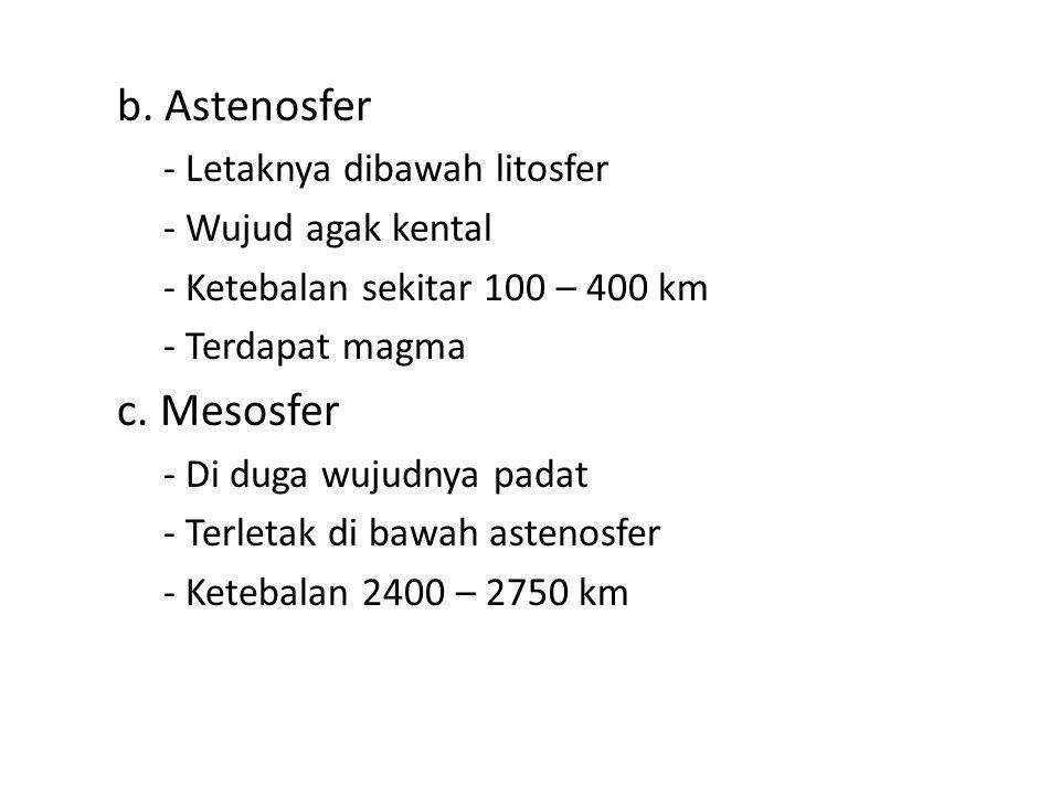 b. Astenosfer c. Mesosfer - Letaknya dibawah litosfer
