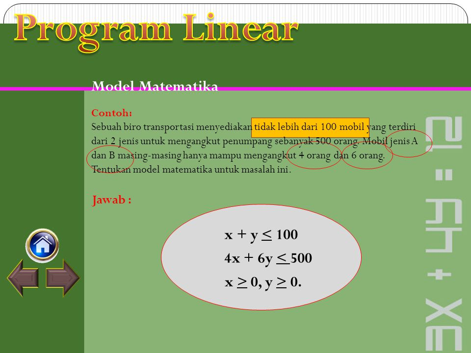 Program Linear Model Matematika x + y < 100 4x + 6y < 500