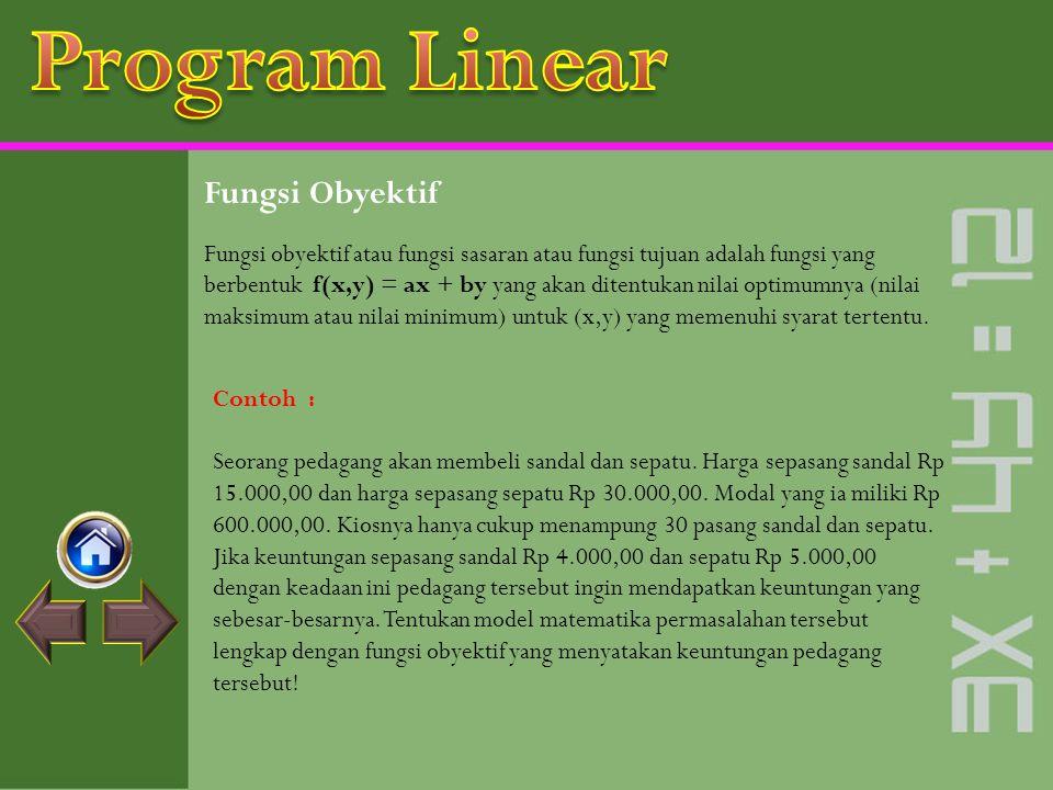 Program Linear Fungsi Obyektif