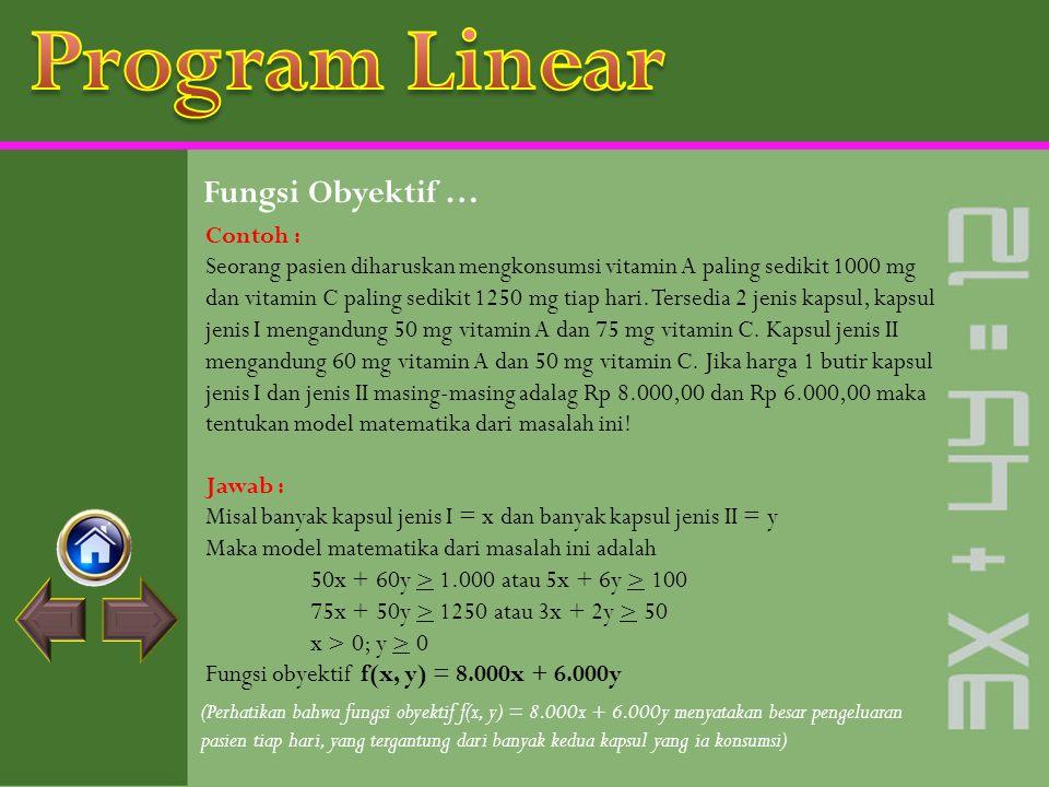 Program Linear Fungsi Obyektif … Contoh :