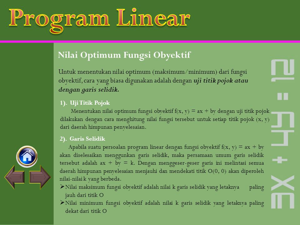 Program Linear Nilai Optimum Fungsi Obyektif