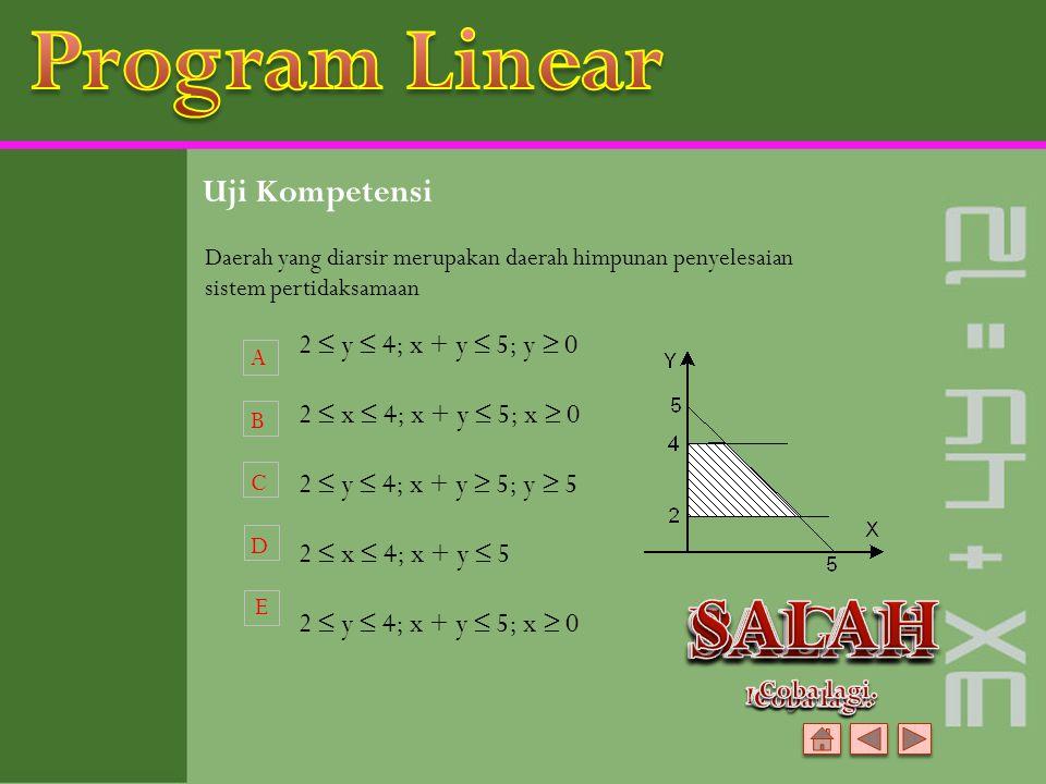 Program Linear SALAH BAGUS SALAH SALAH SALAH Uji Kompetensi
