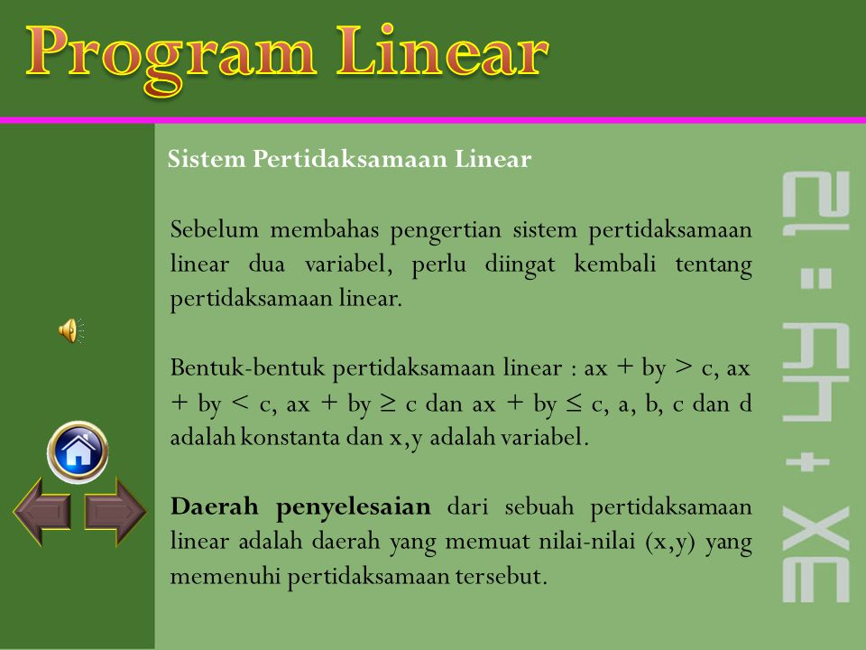 Program Linear Sistem Pertidaksamaan Linear