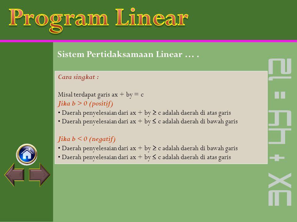 Program Linear Sistem Pertidaksamaan Linear … . Cara singkat :