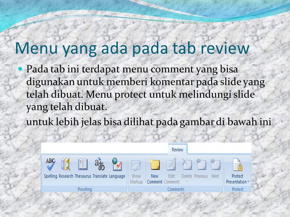 Menu yang ada pada tab review