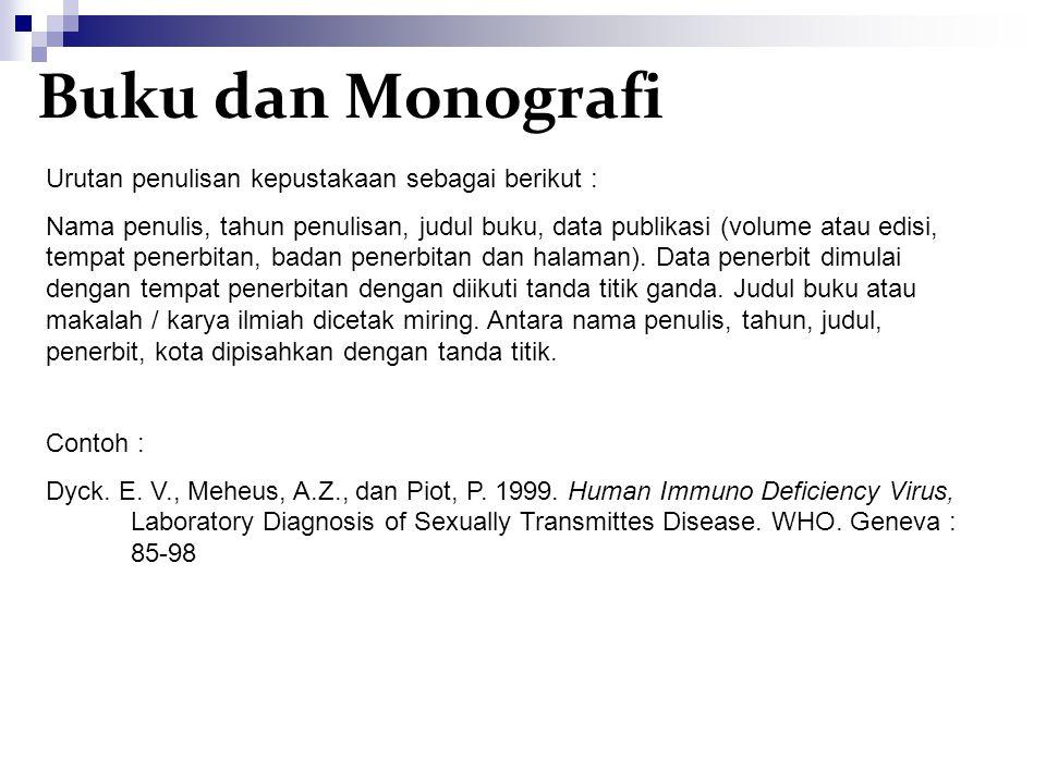 Buku dan Monografi Urutan penulisan kepustakaan sebagai berikut :
