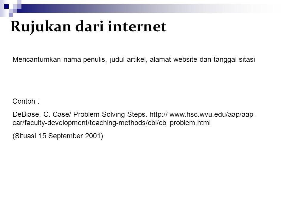 Rujukan dari internet Mencantumkan nama penulis, judul artikel, alamat website dan tanggal sitasi. Contoh :