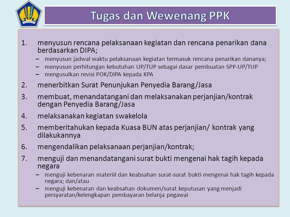 Tugas dan Wewenang PPK menyusun rencana pelaksanaan kegiatan dan rencana penarikan dana berdasarkan DIPA;