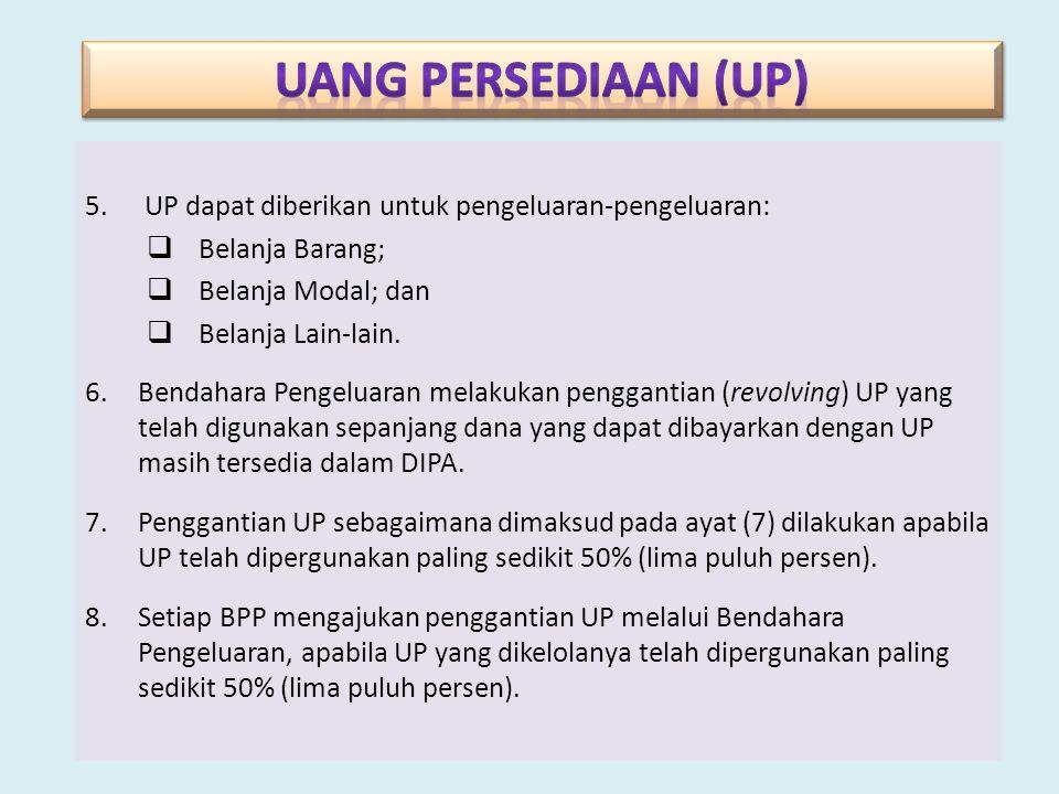 UANG PERSEDIAAN (UP) UP dapat diberikan untuk pengeluaran-pengeluaran: