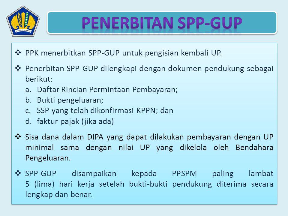 PENERBITAN SPP-GUP PPK menerbitkan SPP-GUP untuk pengisian kembali UP.