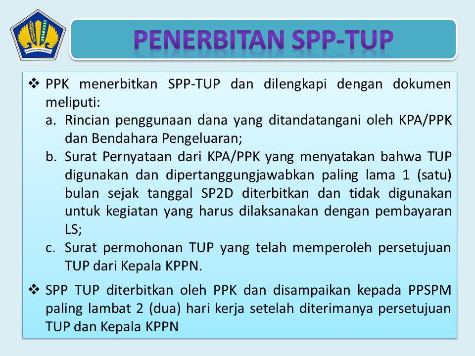 Penerbitan SPP-TUP PPK menerbitkan SPP-TUP dan dilengkapi dengan dokumen meliputi:
