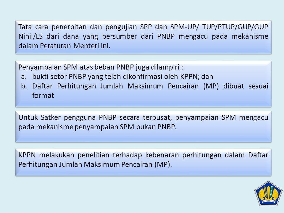 Tata cara penerbitan dan pengujian SPP dan SPM-UP/ TUP/PTUP/GUP/GUP Nihil/LS dari dana yang bersumber dari PNBP mengacu pada mekanisme dalam Peraturan Menteri ini.