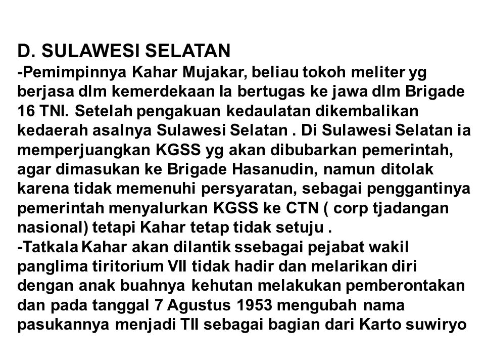 D. SULAWESI SELATAN