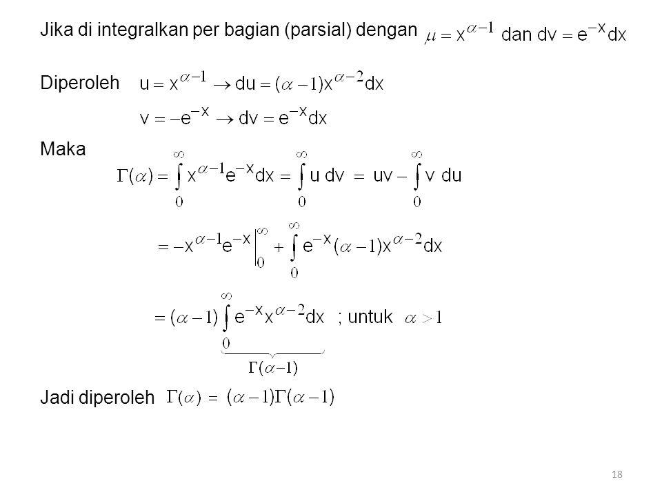 Jika di integralkan per bagian (parsial) dengan