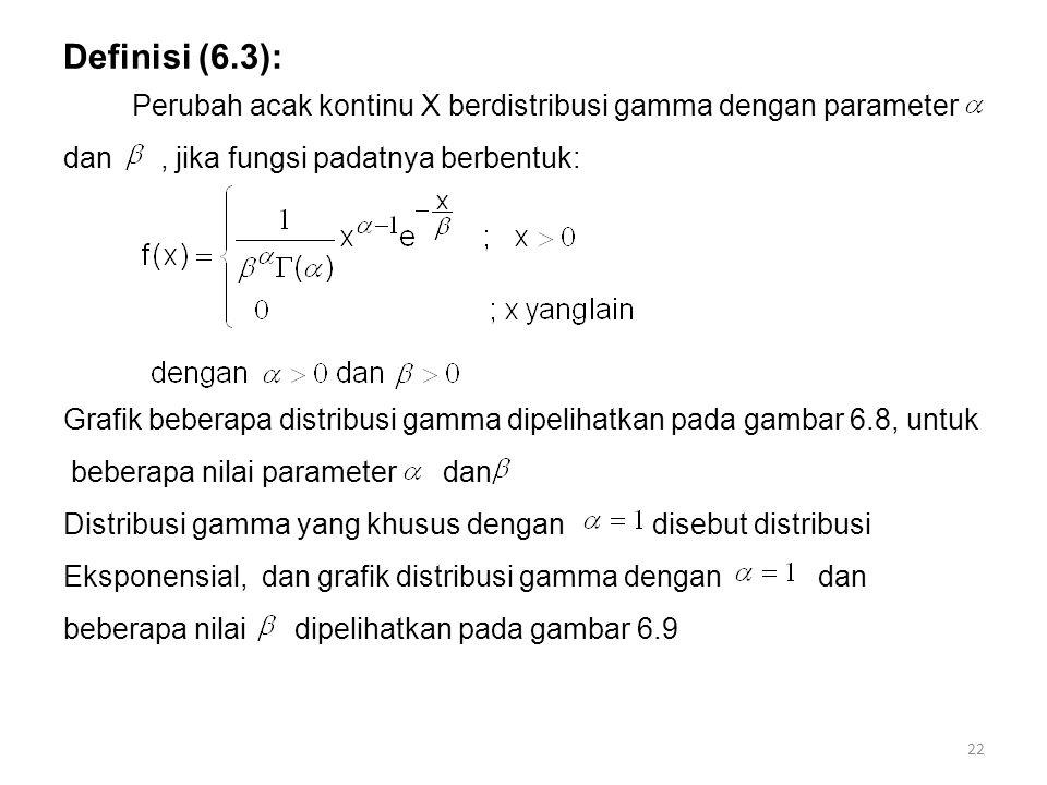 Definisi (6.3): Perubah acak kontinu X berdistribusi gamma dengan parameter. dan , jika fungsi padatnya berbentuk:
