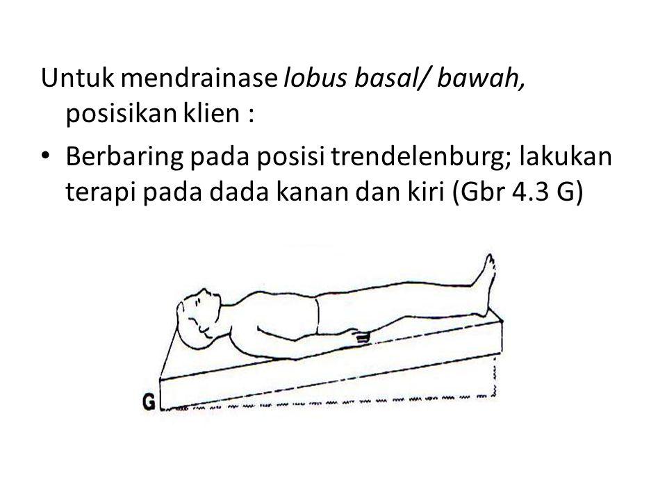 Untuk mendrainase lobus basal/ bawah, posisikan klien :