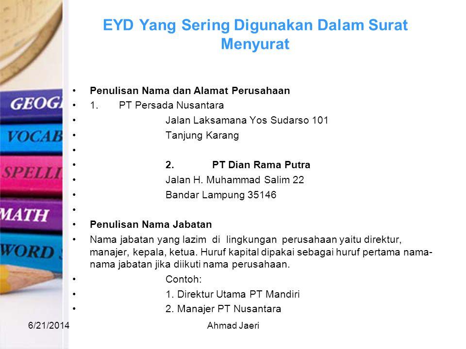 EYD Yang Sering Digunakan Dalam Surat Menyurat