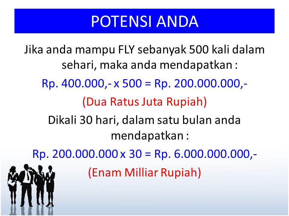 POTENSI ANDA Jika anda mampu FLY sebanyak 500 kali dalam sehari, maka anda mendapatkan : Rp. 400.000,- x 500 = Rp. 200.000.000,-