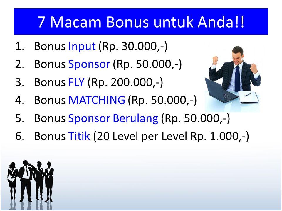 7 Macam Bonus untuk Anda!! Bonus Input (Rp. 30.000,-)