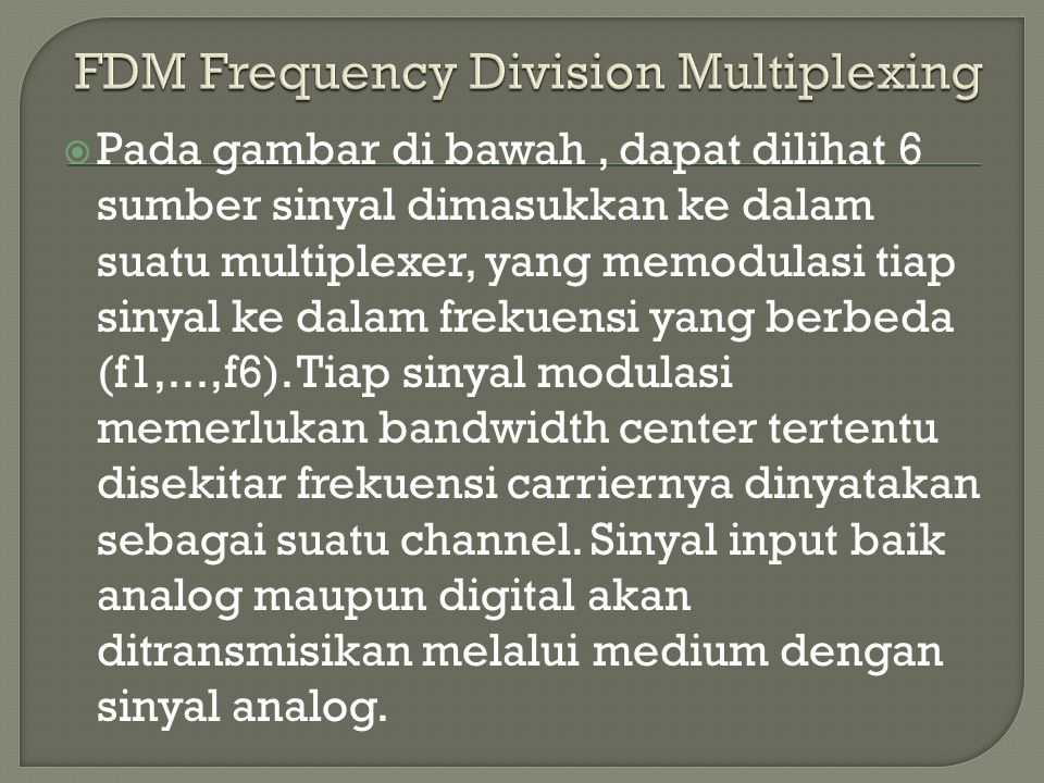 FDM Frequency Division Multiplexing
