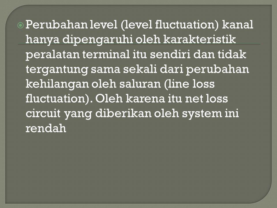 Perubahan level (level fluctuation) kanal hanya dipengaruhi oleh karakteristik peralatan terminal itu sendiri dan tidak tergantung sama sekali dari perubahan kehilangan oleh saluran (line loss fluctuation).