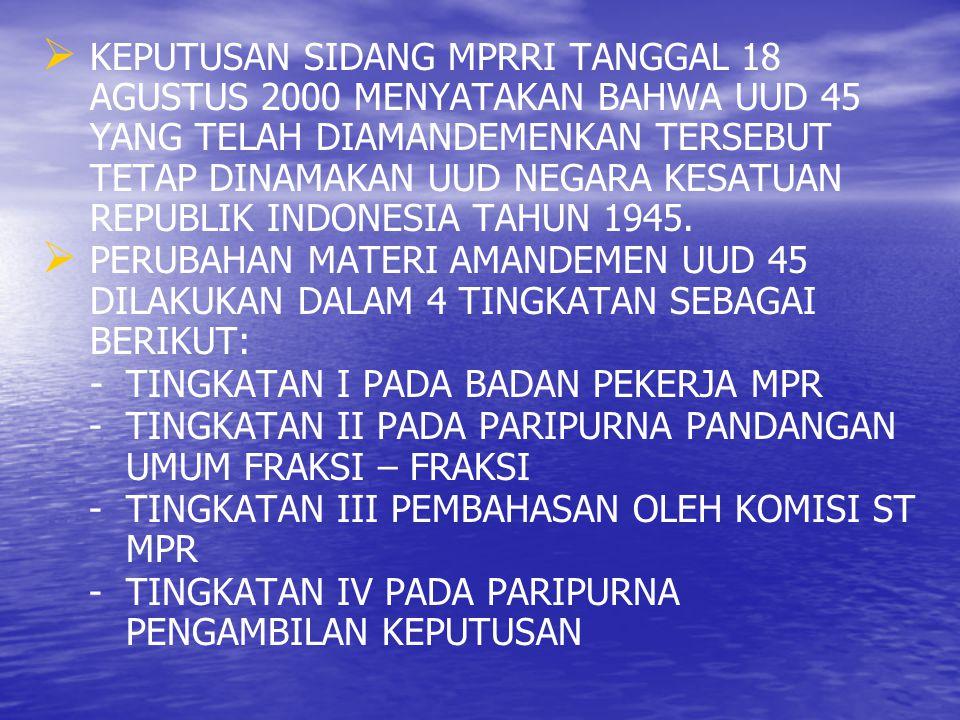 KEPUTUSAN SIDANG MPRRI TANGGAL 18 AGUSTUS 2000 MENYATAKAN BAHWA UUD 45 YANG TELAH DIAMANDEMENKAN TERSEBUT TETAP DINAMAKAN UUD NEGARA KESATUAN REPUBLIK INDONESIA TAHUN 1945.