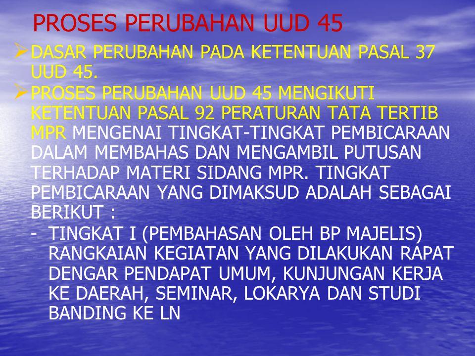 PROSES PERUBAHAN UUD 45 DASAR PERUBAHAN PADA KETENTUAN PASAL 37 UUD 45.