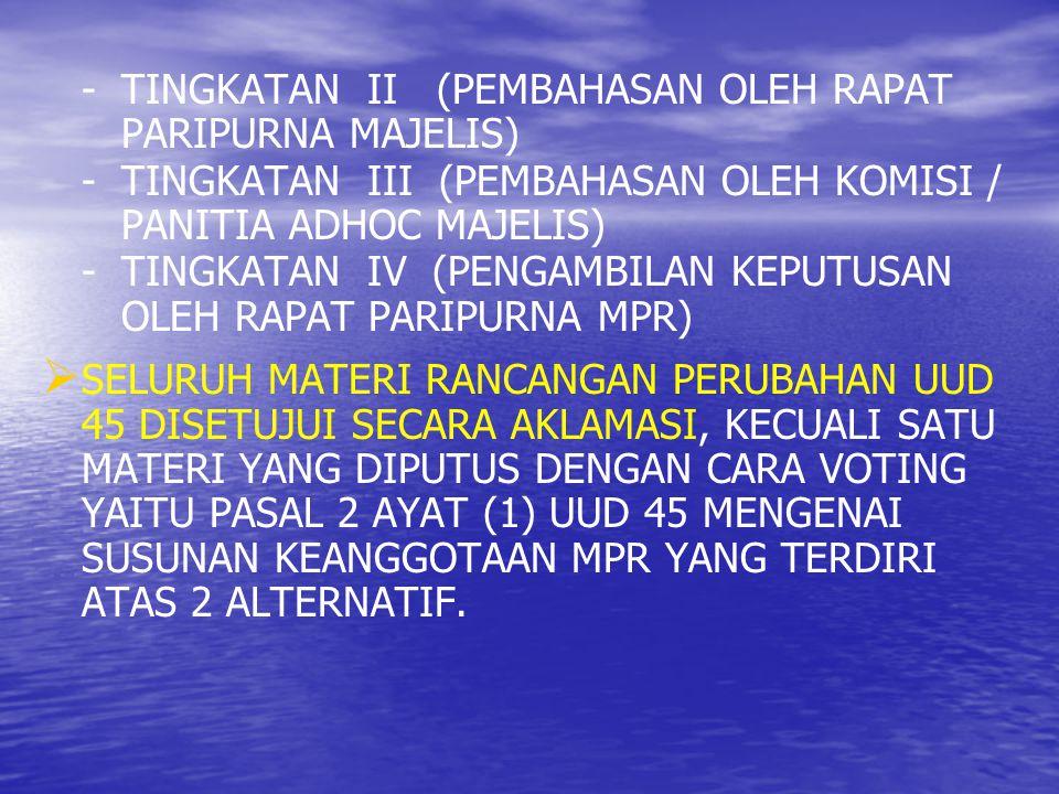- TINGKATAN II (PEMBAHASAN OLEH RAPAT PARIPURNA MAJELIS)