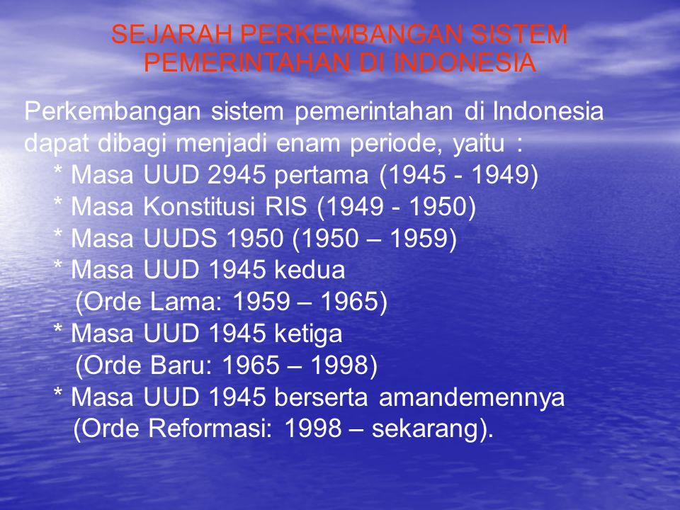 SEJARAH PERKEMBANGAN SISTEM PEMERINTAHAN DI INDONESIA