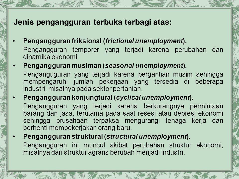 Jenis pengangguran terbuka terbagi atas: