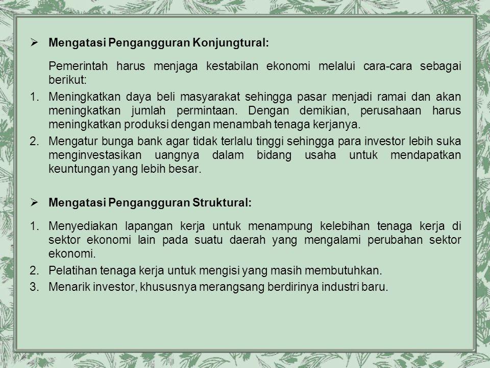 Mengatasi Pengangguran Konjungtural: