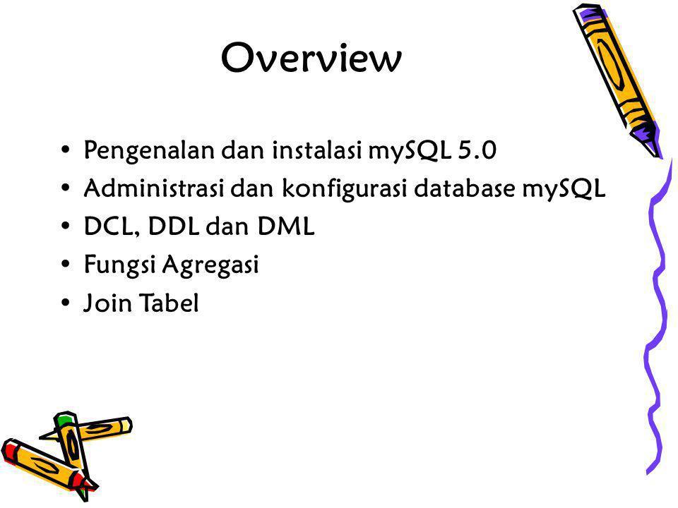 Overview Pengenalan dan instalasi mySQL 5.0