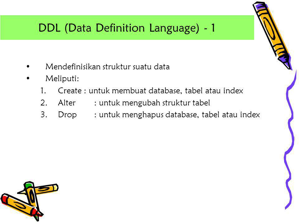 DDL (Data Definition Language) - 1