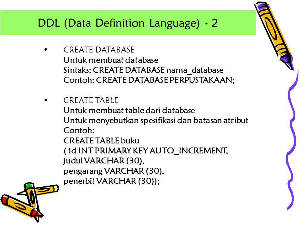 DDL (Data Definition Language) - 2