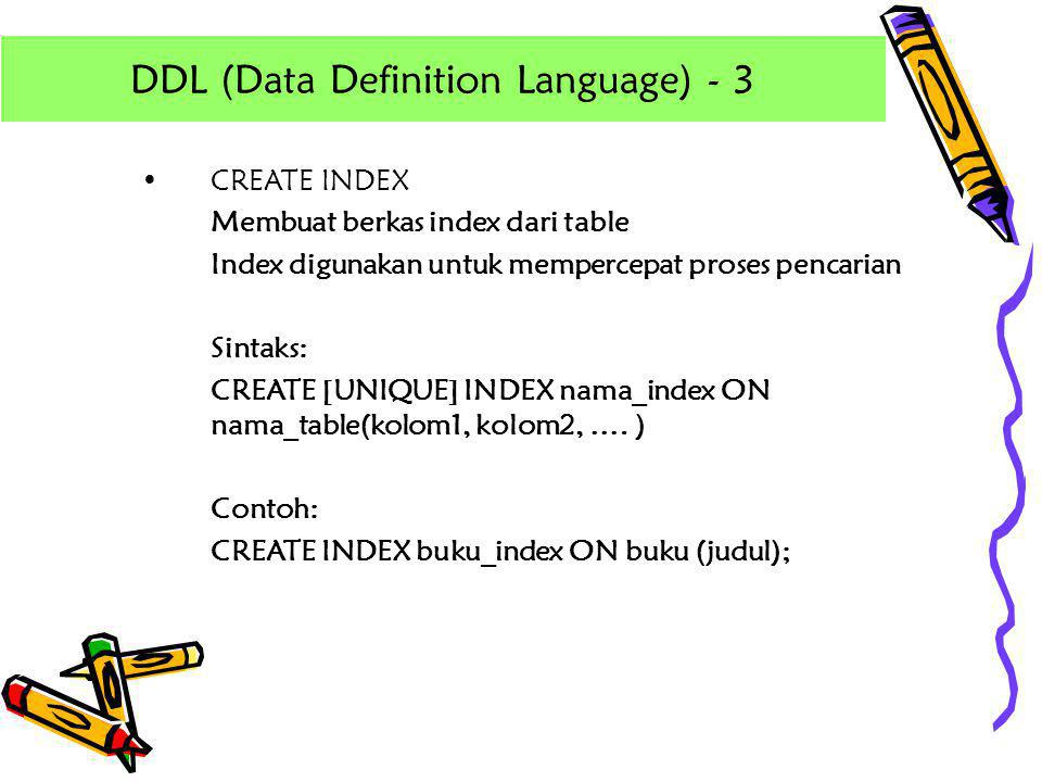 DDL (Data Definition Language) - 3