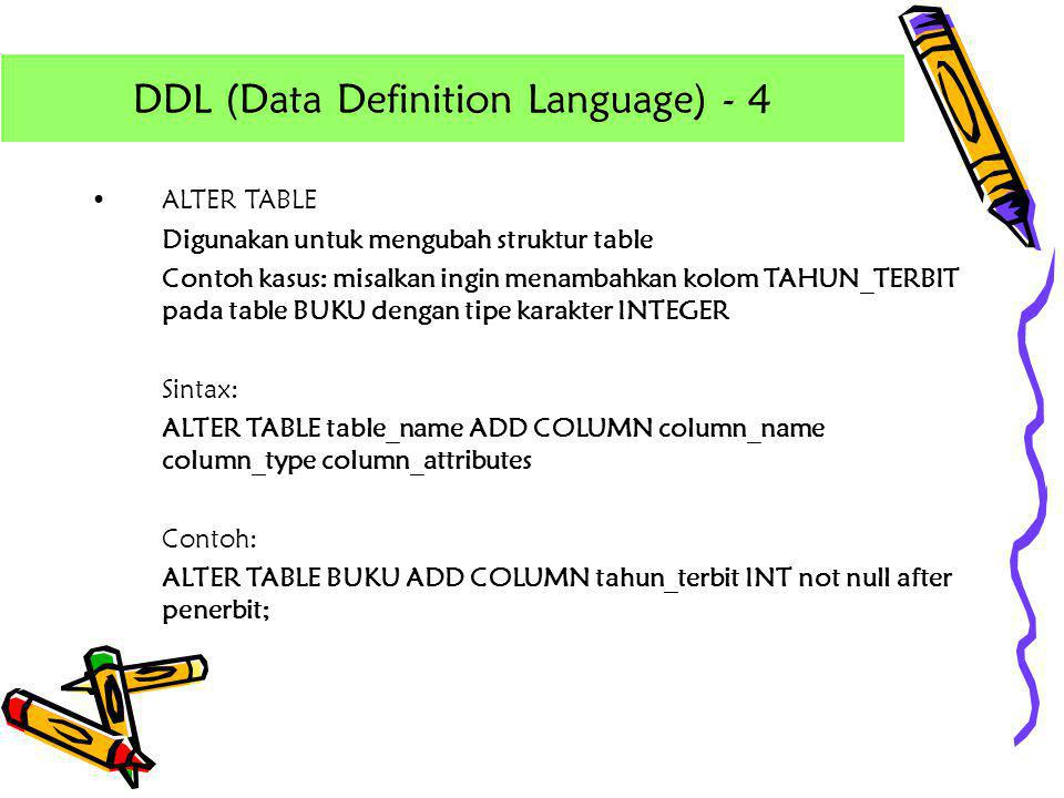 DDL (Data Definition Language) - 4