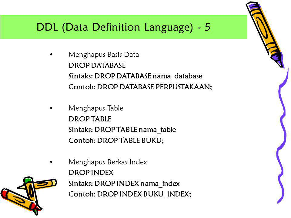 DDL (Data Definition Language) - 5