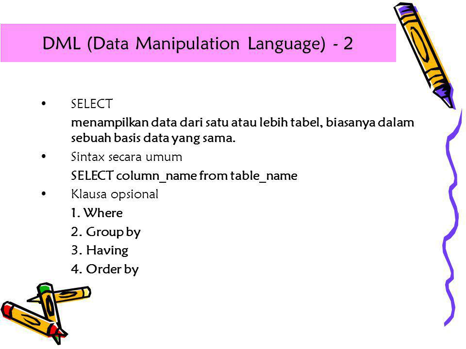 DML (Data Manipulation Language) - 2