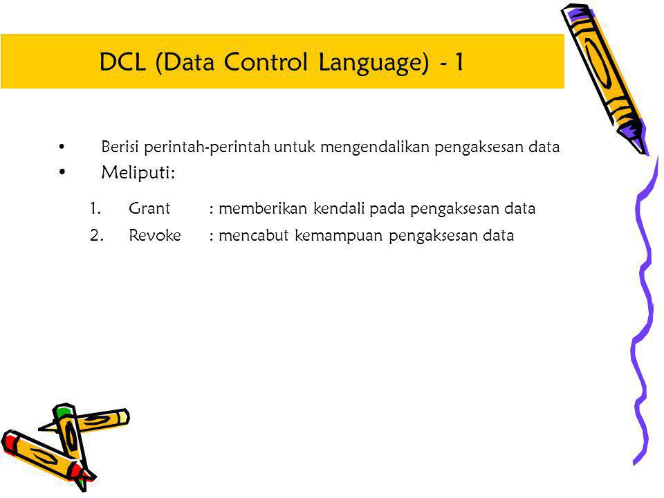 DCL (Data Control Language) - 1