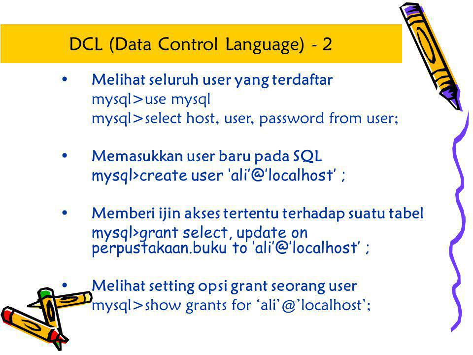 DCL (Data Control Language) - 2