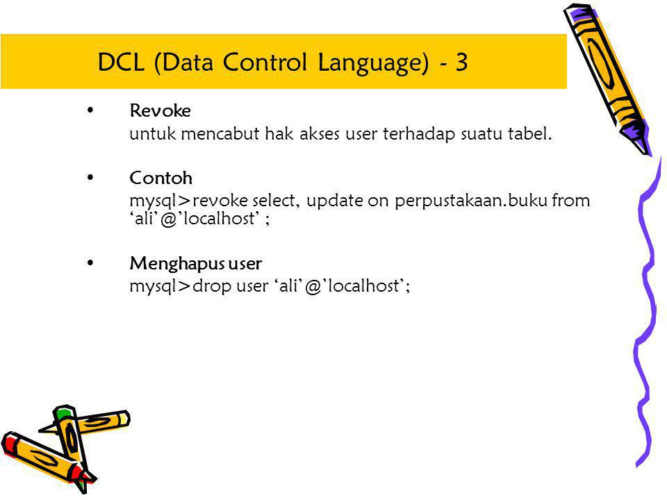 DCL (Data Control Language) - 3