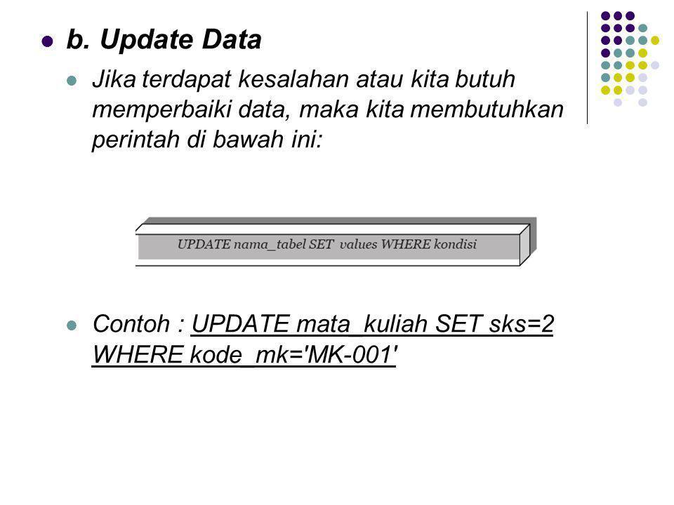 b. Update Data Jika terdapat kesalahan atau kita butuh memperbaiki data, maka kita membutuhkan perintah di bawah ini: