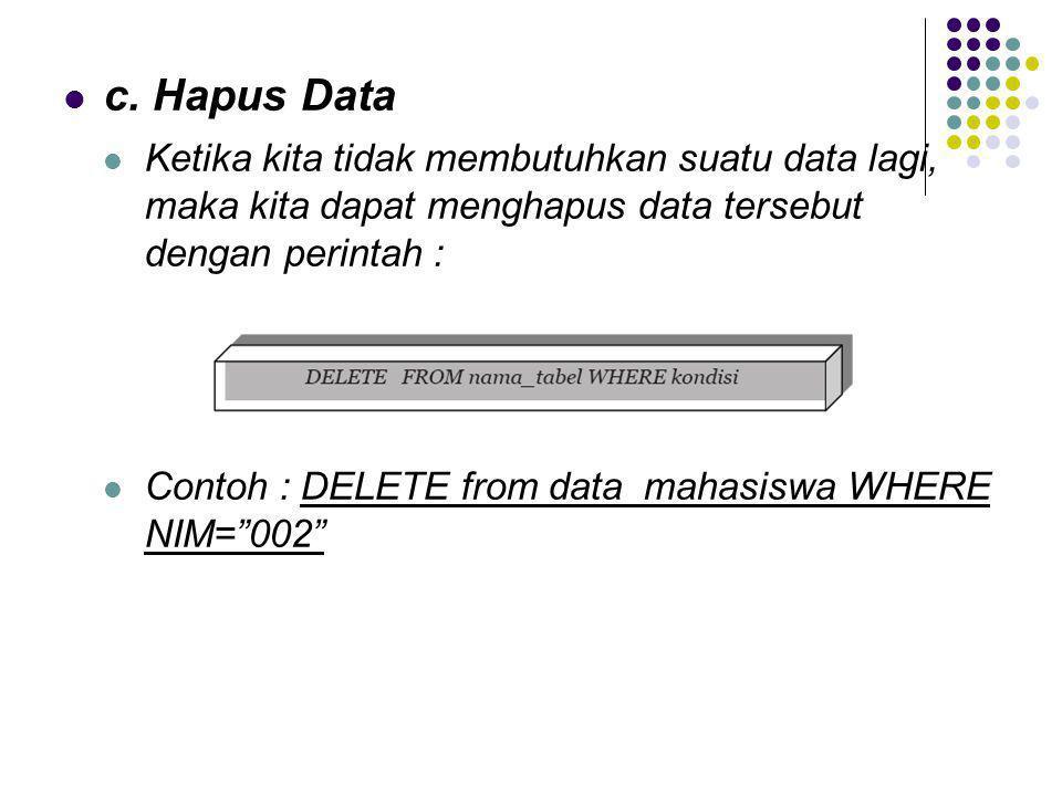 c. Hapus Data Ketika kita tidak membutuhkan suatu data lagi, maka kita dapat menghapus data tersebut dengan perintah :