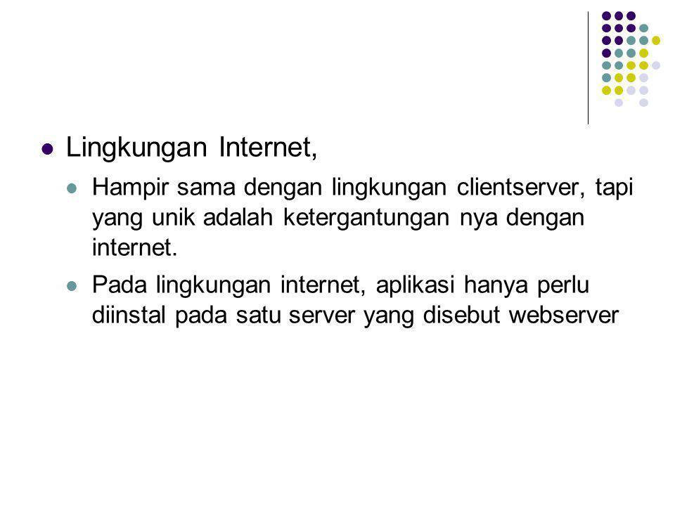 Lingkungan Internet, Hampir sama dengan lingkungan clientserver, tapi yang unik adalah ketergantungan nya dengan internet.