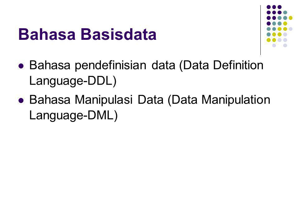 Bahasa Basisdata Bahasa pendefinisian data (Data Definition Language-DDL) Bahasa Manipulasi Data (Data Manipulation Language-DML)