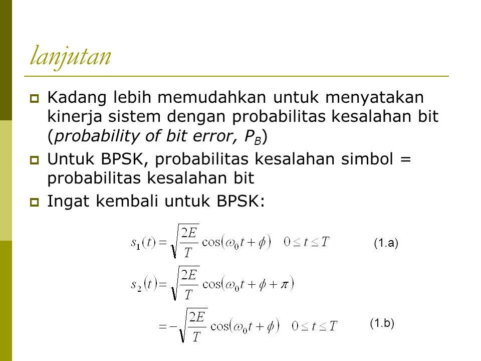 lanjutan Kadang lebih memudahkan untuk menyatakan kinerja sistem dengan probabilitas kesalahan bit (probability of bit error, PB)
